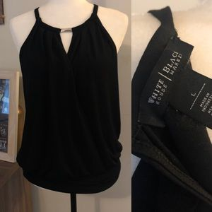 <WH|BM> Open Front High Neck Tank Blouse
